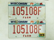 Wisconsin Farm License Plate 105108F