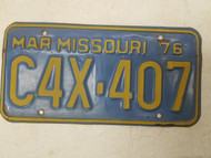 1976 Missouri License Plate C4X-407