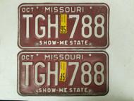 1995 Missouri Show-Me State License Plate TGH 788 Pair