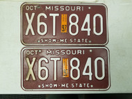 1997 Missouri Show-Me State License Plate X6T 840 Pair