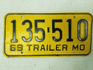 1969 Missouri Trailer License Plate 135-510