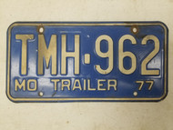 1977 Missouri Trailer License Plate TMH-962