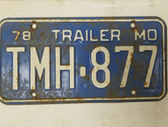 1978 Missouri Trailer License Plate TMH-877