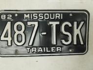1982 Missouri Trailer License Plate 487-TSK