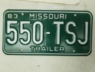 1983 Missouri Trailer License Plate 550-TSJ