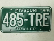 1985 Missouri Trailer License Plate 485-TRE