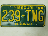 1986 Missouri Trailer License Plate 239-TWG