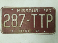 1987 Missouri Trailer License Plate 287-TTP