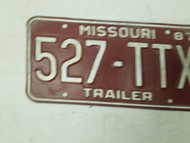 1987 Missouri Trailer License Plate 527-TTX