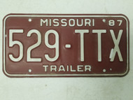 1987 Missouri Trailer License Plate 529-TTX