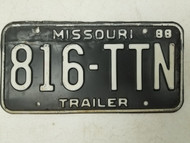1988 Missouri Trailer License Plate 816-TTN