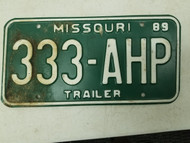 1989 Missouri Trailer License Plate 333-AHP Triple Three