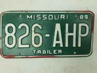 1989 Missouri Trailer License Plate 826-AHP