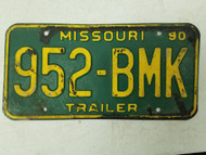 1990 Missouri Trailer License Plate 952-BMK