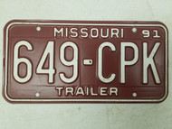 1991 Missouri Trailer License Plate 649-CPK