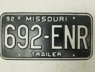 1992 Missouri Trailer License Plate 692-ENR