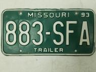 1993 Missouri Trailer License Plate 883-SFA