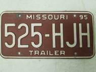 1994 Missouri Trailer License Plate 525-HJH