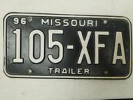 1996 Missouri Trailer License Plate 105-XFA