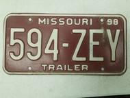 1998 Missouri Trailer License Plate 594-ZEY