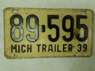 1939 Michigan Trailer License Plate 89-595