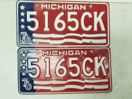 1976 Michigan Trailer License Plate 5165CK Pair