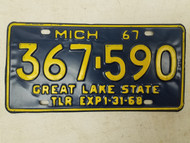 1967 Michigan Great Lake State Trailer License Plate 367-590