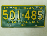 1968 Michigan Great Lake State Trailer License Plate 501-485