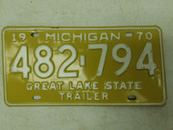 1970 Michigan Great Lake State Trailer License Plate 482-794