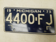 1973 Michigan License Plate 4400-FJ