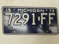 1973 Michigan License Plate 7291-FF