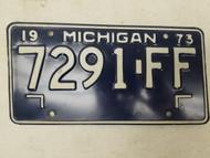 1973 Michigan License Plate 7291-FF
