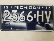 1973 Michigan License Plate 2366-HV