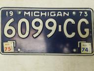 1973 (1974, 1975 Tag) Michigan License Plate 6099-CG