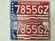 1976 (1978 Tag) Michigan License Plate 7855GZ Pair