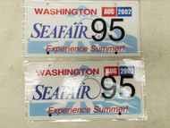 2002 Washington Seafair Experience Summer! License Plate 95 Pair