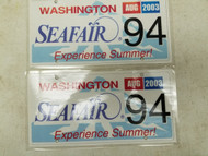 2003 Washington Seafair Experience Summer! License Plate 94 Pair