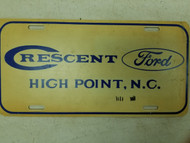 Crescent Ford High Point North Carolina Booster License Plate