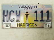 2012 Mississippi Harrison County License Plate HCW 111 Triple One