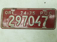 1974-1975 Oregon P.U.C. License Plate 297047