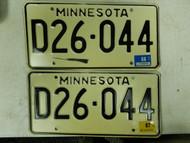 1987 - 1988 Minnesota Dealer License Plate D26-044 Pair