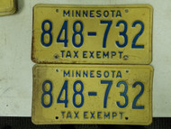 Minnesota Tax Exempt License Plate 848-732 Pair