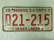 1977 Minnesota Dealer License Plate D21-215