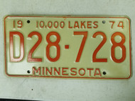 1974 Minnesota Dealer 10,000 Lakes License Plate D28-728