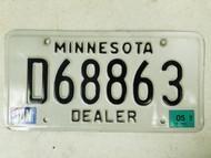 2005 Minnesota Dealer License Plate D68863