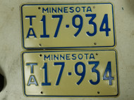 Minnesota License Plate 17-934 Pair