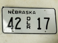 Nebraska Dealer License Plate 42 17
