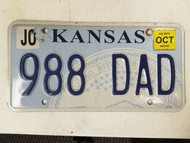 2013 Kansas Johnson County License Plate 988 DAD