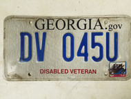2015 Georgia Disabled Veteran License Plate DV 045U