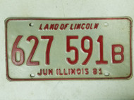 1981 Illinois Land of Lincoln License Plate 627 591